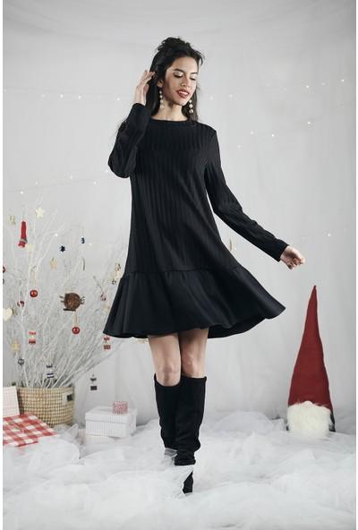 Lyn Devon Kadın Shir Elbise Siyah
