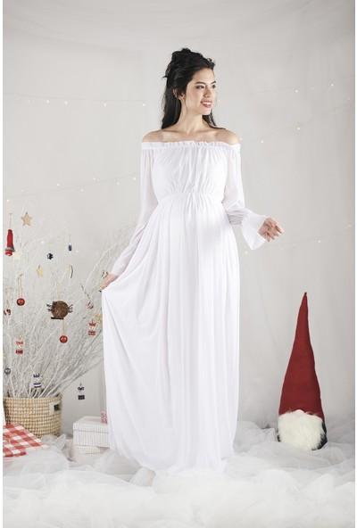Lyn Devon Kadın Christina Elbise Beyaz