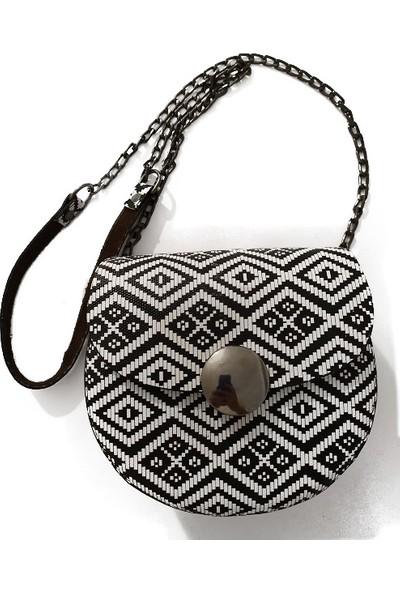 Poyraz Çanta Şık Kadın Çantası Siyah-Beyaz