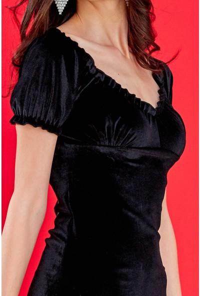 FullaModa Kadın Siyah Geniş Yaka Mini Kadife Elbise