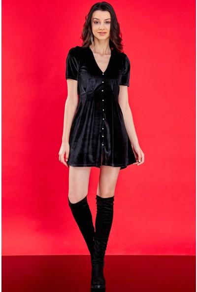 FullaModa Kadın Siyah Önü Taşlı Mini Kadife Elbise