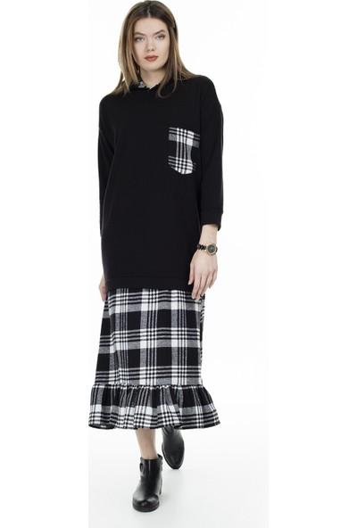 Lela Ekose Desenli Uzun Elbise Kadın Elbise 5202899