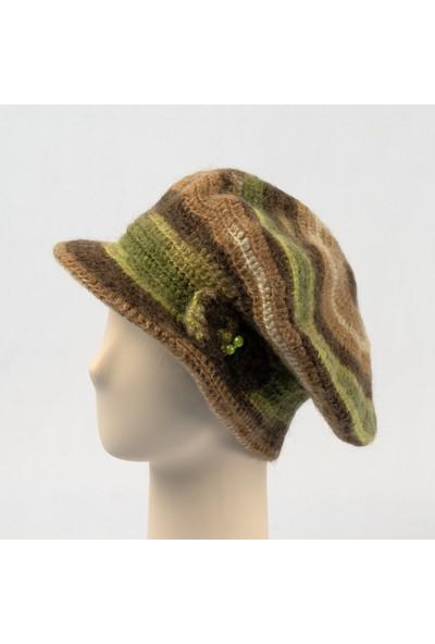 Pinkbear Özel Tasarım %100 Handmade El Örgüsü Yerli Üretim Yün Ressam Kadın Bere Şapka