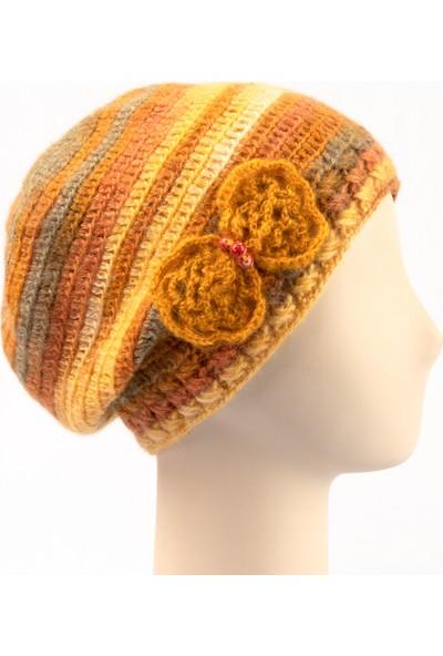Pinkbear Özel Tasarım %100 Handmade El Örgüsü Yerli Üretim Outdoor Yün Kadın Bere Şapka