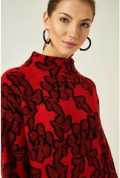 Join Us Çiçek Desenli Elbise Kırmızı