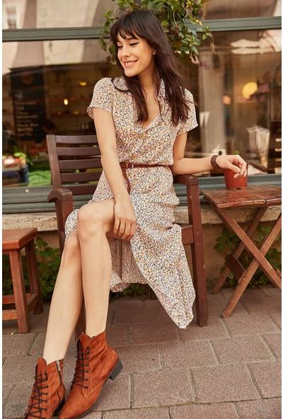 New Laviva Ekru Kadın Elbise
