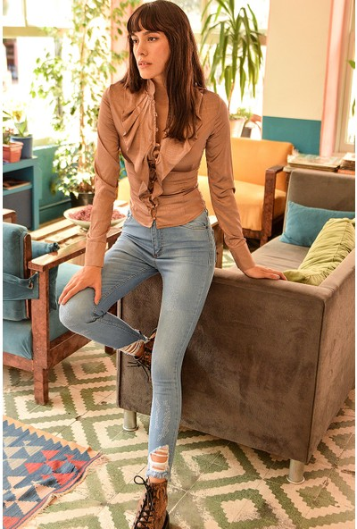 New Laviva Mavi Kadın Pantolon