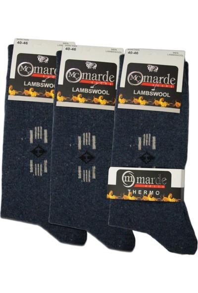 Marde Erkek Kışlık Kalın Yünlü Çorap Dikişsiz Parfümlü 3 Adet