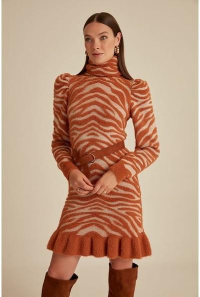 Join Us Zebra Desen Dik Yaka Fırfır Triko Elbise