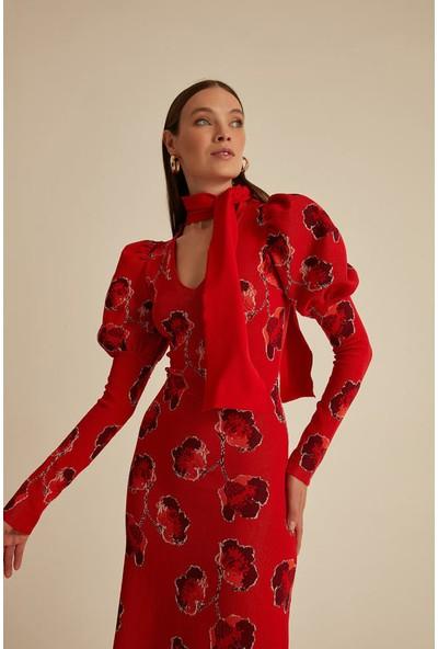 Join Us Çiçekli Balon Kol V Yaka Triko Elbise