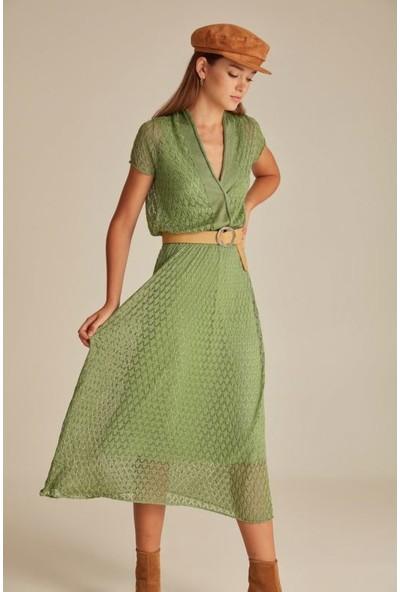 Join Us Ajurlu V Yaka Simli Astarlı Triko Elbise