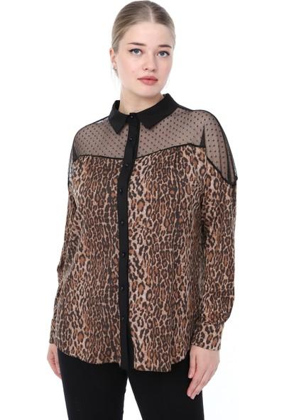 Lir Kadın Leopar Desenli Gömlek Siyah L4039