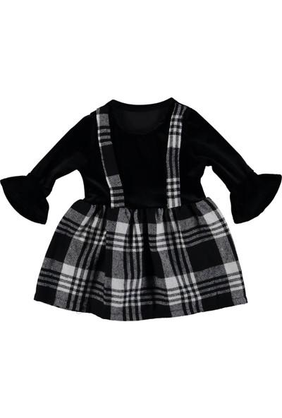 Panino Ekose Askılı Kadife Elbise 2 Yaş