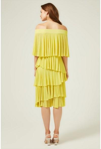 Join Us Bardod Fırfırlı Triko Elbise