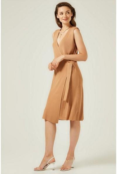 Join Us Kruvaze Yandan Bağlama Detaylı Triko Elbise