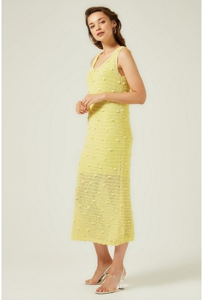 Join Us V Yaka Ajurlu PomPonlu Astarlı Elbise