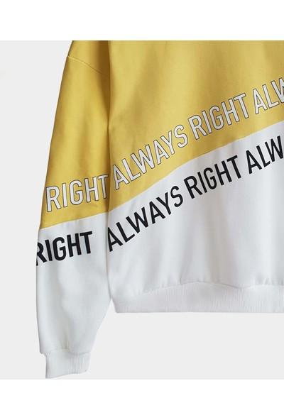 Coten Concept Önü Slogan Baskılı Yuvarlak Yaka Sweatshirt