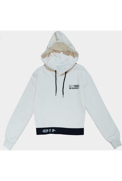 Coten Concept Beli Lastikli Sloganlı Sweatshirt