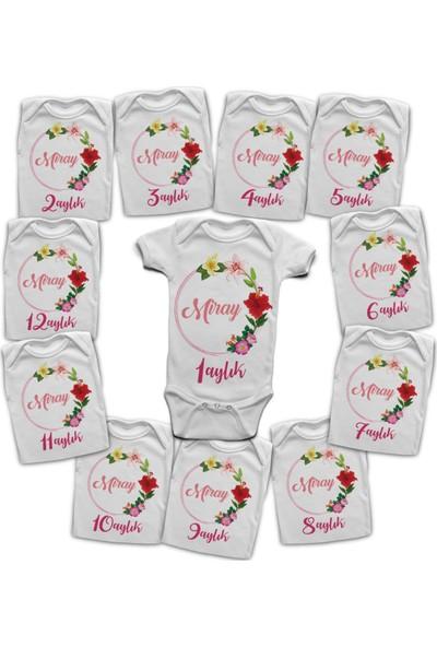 İncili Baby İsme Özel 12 Aylık Body Setler - Çiçek Demeti Miray