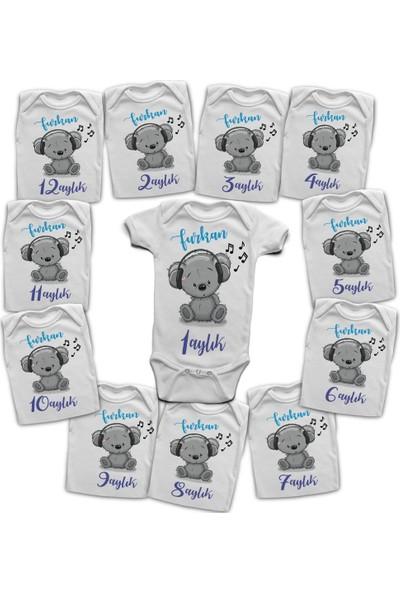 İncili Baby İsme Özel 12 Aylık Body Setler - Eğlenceli Ayıcık Tasarım