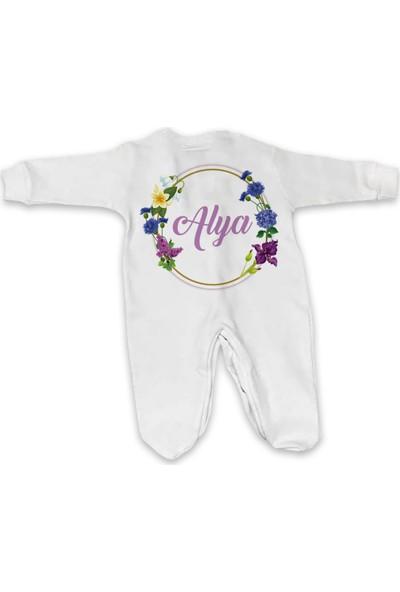 İncili Baby İsme Özel Tulum Set Kız Çiçek Çemberi Alya