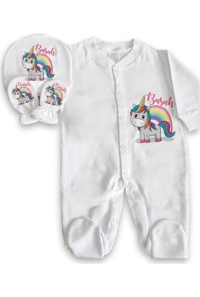 İncili Baby Kişiye Özel Tulum Kız Set Unicorn Gökkuşağı