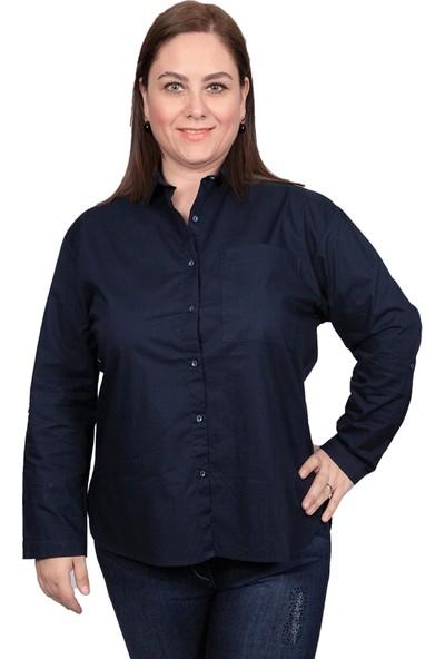 Enrico Pinaldi Büyük Beden Kadın Gömlek 8575 Lacivert