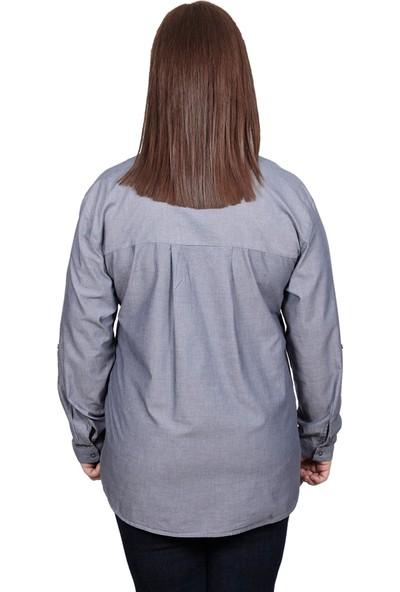 Enrico Pinaldi Büyük Beden Kadın Gömlek 8527 Antrasit