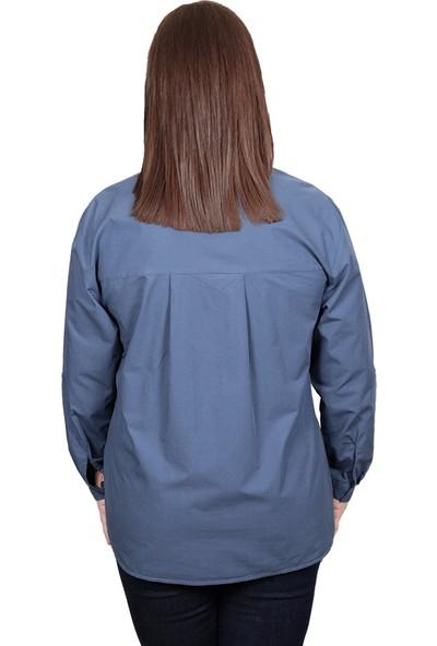 Enrico Pinaldi Büyük Beden Kadın Gömlek 8527 İndigo