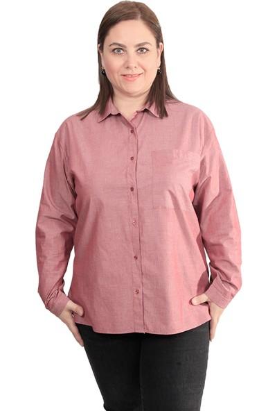 Enrico Pinaldi Büyük Beden Kadın Gömlek 8527 Bordo