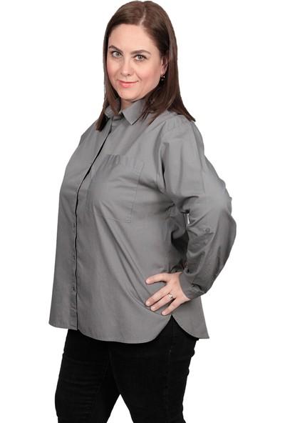 Enrico Pinaldi Büyük Beden Kadın Gömlek 8527 Haki