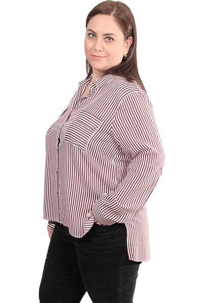Enrico Pinaldi Kadın Gömlek 8236 Bordo