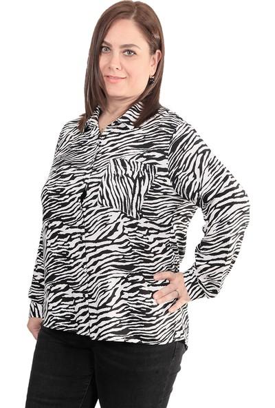 Enrico Pinaldi Zebra Desen Kadın Gömlek 9926 Siyah-Beyaz 29W21199926