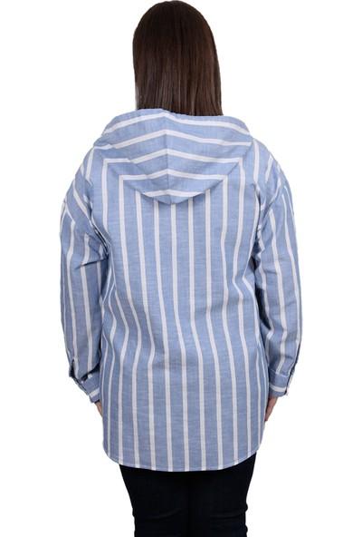 Enrico Pinaldi Büyük Beden Kapüşonlu Kadın Gömlek 20-10786 İndigo-Beyaz 29W212010786
