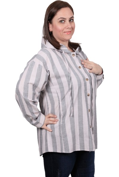 Enrico Pinaldi Büyük Beden Kapüşonlu Kadın Gömlek 20-10786 Antrasit-Beyaz 29W212010786