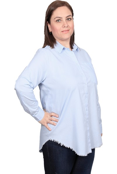 Enrico Pinaldi Kadın Keten Gömlek 20-9564 Mavi 29W21209564