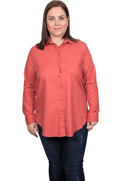 Enrico Pinaldi Kadın Keten Gömlek 20-9564 Tarçın 29W21209564