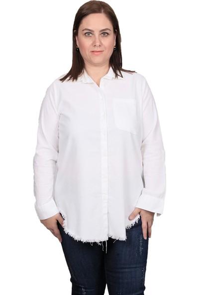 Enrico Pinaldi Kadın Keten Gömlek 20-9564 Beyaz 29W21209564
