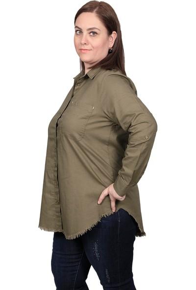Enrico Pinaldi Kadın Keten Gömlek 20-9564 Haki 29W21209564