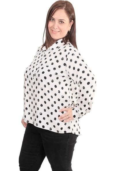 Enrico Pinaldi Büyük Beden Puantiyeli Kadın Gömlek 20-9926 Beyaz-Siyah 29W21209926