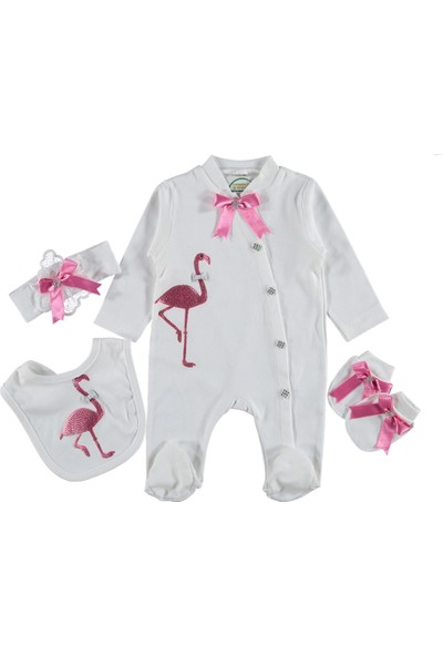 Ponpon Baby Kuğu Desenli Taşlı Süslemeli Kız Tulum 0 - 3 Ay