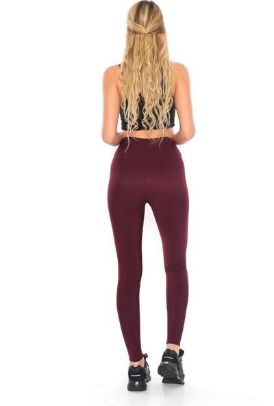 Alışveriş Sokağı Şardonlu Dalgıç Kumaş Yüksek Bel Kadın Tayt M
