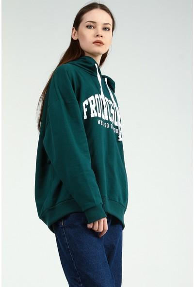 Collezione Kadın Zümrüt Kapüşonlu Sweatshirt Wogens
