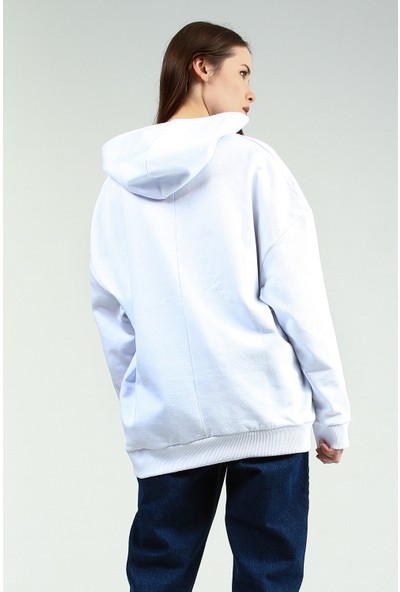 Collezione Kadın Beyaz Kapüşonlu Sweatshirt Wogens