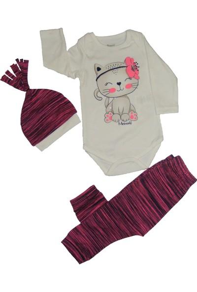 Miniworld Kız Bebek Sevimli Kedicik Üçlü Takım 9 - 12 Ay