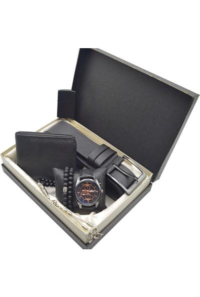 Spectrum Erkek Kol Saati Seti Siyah - Saat Tesbih Cüzdan Kemer Kartlık 2 Bileklk TS71