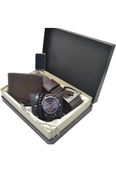Spectrum Erkek Kol Saati Seti - Spectrum Saat - Tesbih - Cüzdan - Kemer - Çakmak - 2 Bileklik Ess-72