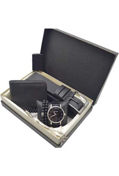Spectrum Erkek Kol Saati Seti Gümüş - Saat Tesbih Cüzdan Kemer Kartlık 2 Bileklik