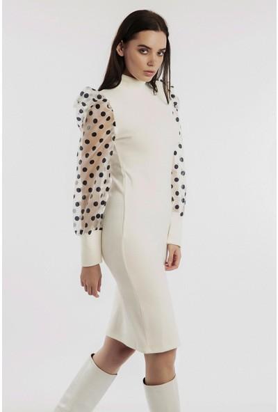 Hds Hadise Ekru Kolları Organze Triko Elbise 0121