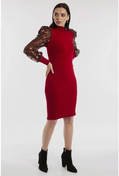 Hds Hadise Kırmızı Kolları Organze Triko Elbise 0121